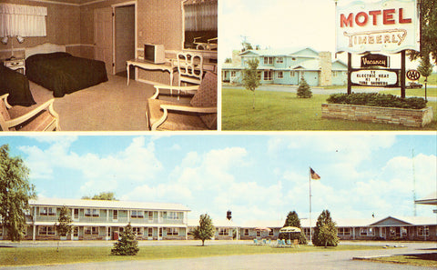 Timberly Motel - Gaylord,Michigan.Front of vintage postcard
