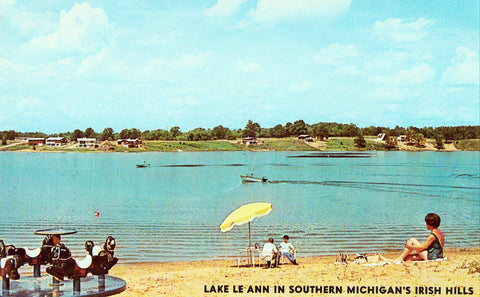 Lake Le Ann in Southern Michigan's Irish Hills.Front of vintage postcard