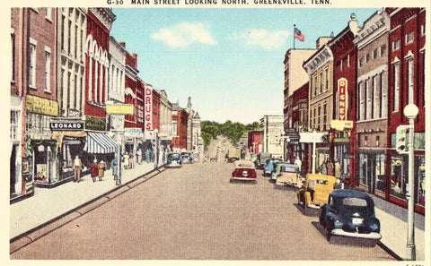Main Street,Looking North - Greeneville,Tennessee.Front of linen postcard