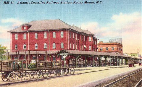 Atlantic Coastline Railroad Station - Rocky Mount,North Carolina.Linen postcard front
