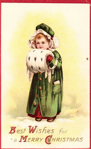 Best Wishes for A Merry Christmas - Girl with Muff.Front of old postcard