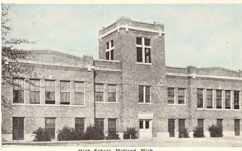 High School - Midland,Michigan.Front of vintage postcard