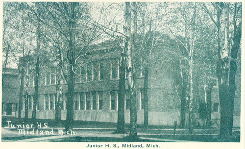 Front of postcard.Junior High School - Midland,Michigan