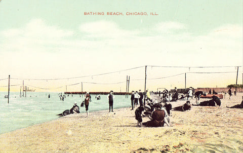 Bathing Beach in Chicago,Illinois Vintage Postcard Front