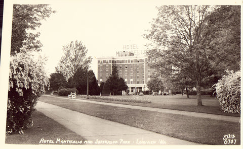 Hotel Monticello and Jefferson Park - Longview,Washington.Photo postcard front