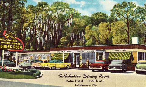 Tallahassee Dining Room - Talahassee,Florida.Linen postcard front