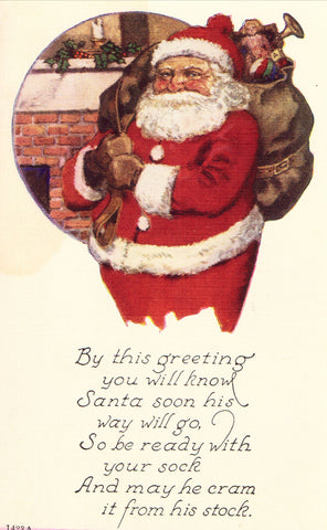 Christmas Postcard Front - Santa with Bag of Toys