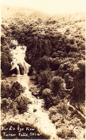 Bird's Eye View of Turner Falls - Oklahoma.Front of photo postcard