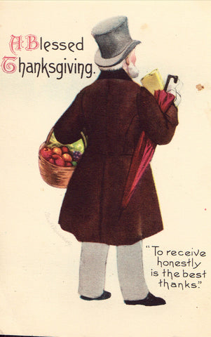 A Blessed Thanksgiving - Clapsaddle Postcard Front