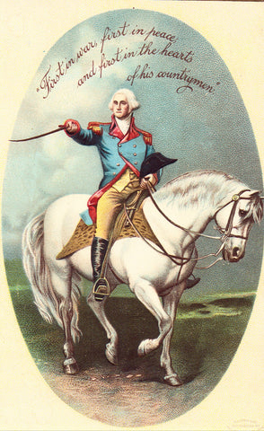 Vintage Postcard Front - George Washington on his Horse