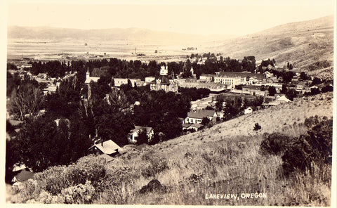 Panoramic View of Lakeview,Oregon Real Photo Postcard Front