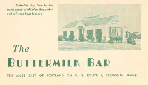 The Buttermilk Bar - Yarmouth,Maine Vintage Postcard Front