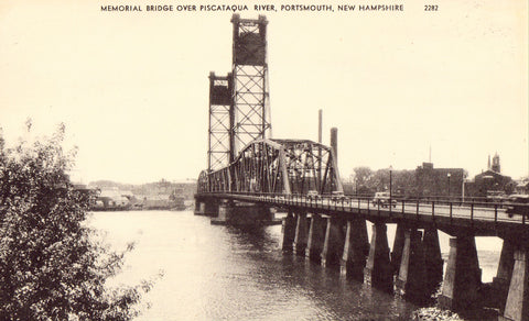Vintage Postcard Front Memorial Bridge over Piscataqua River - Portsmouth,New Hampshire