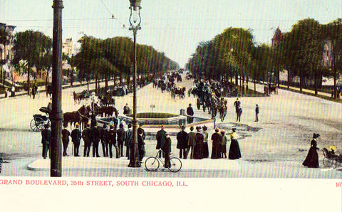 Grand Boulevard,35th Street - South Chicago,Illinois.Front of undivided back postcard