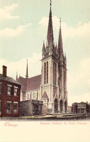 German Catholic St. Paul's Church - Chicago,Illinois.UDB Postcard front