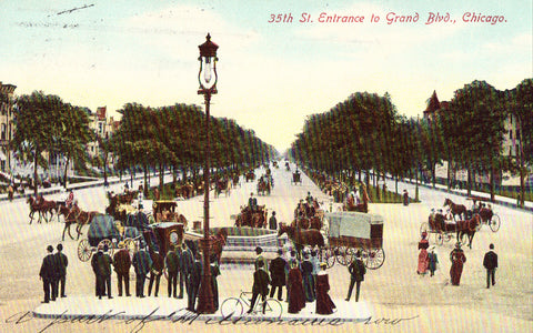 35th Street Entrance to Grand Boulevard - Chicago,Illinois 1909 postcard front