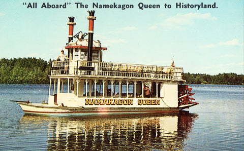 The Namekagon Queen at Hayward,Wisconsin Vintage Postcard Front