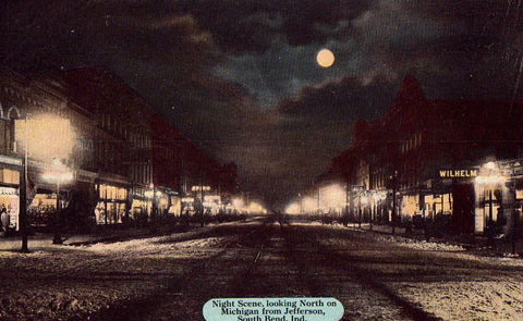 Night Scene on Michigan from Jefferson - South Bend,Indiana Postcard Front