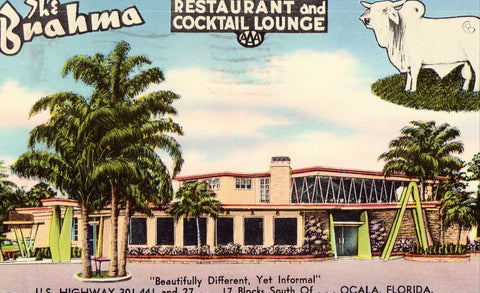 The Brahma Restaurnt and Cocktail Lounge - Ocala,Florida Postcard Front
