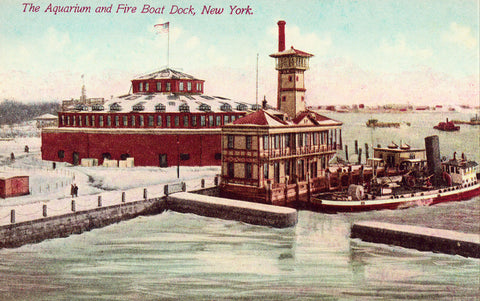 The Aquarium and Fire Boat Dock - New York City Old Postcard Front for sale