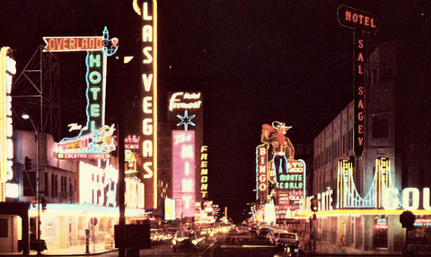 Vintage Postcard Front Fremont Street from Main Street - Las Vegas,Nevada.Buy vintage postcards here