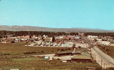 Vintage Postcard Front.Panoramic View of Pinedale,Wyoming.Buy Postcards Here