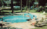 Swimming Pool at Forest Motel - Columbia,South Carolina.Front view of vintage postcard
