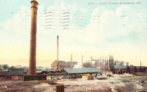 Front of old postcard.Ensly Furnace - Birmingham,Alabama.Buy postcards here