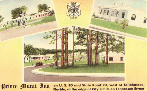 Front of linen postcard.Prince Murat Motel near Tallahassee,Florida.Buy postcards here