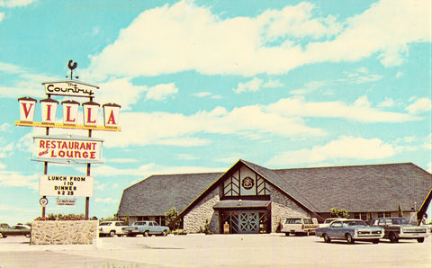 Front of vintage postcard.Country Villa Restaurant and Lounge - Pinellas Park,Florida