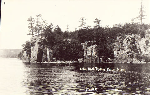 Front of real photo postcard. Echo Rock - Taylors Falls,Minnesota