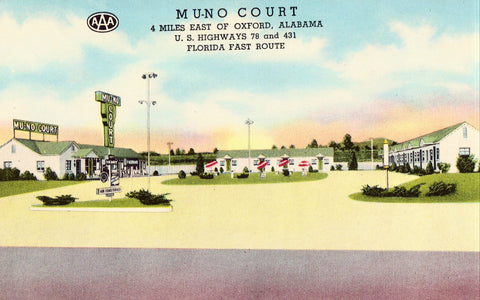 Vintage postcard front.Mu-No Court - Oxford,Alabama