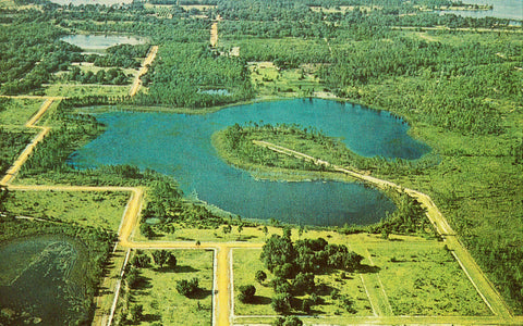 Front of vintage postcard.Aerial View - Interlachen Lake Estates - Florida