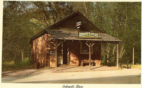 Front of vintage postcard.Bekeart's Store - Coloma,California