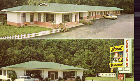 Vintage postcard front.Craig's Motel and Restaurant - Cherokee,North Carolina