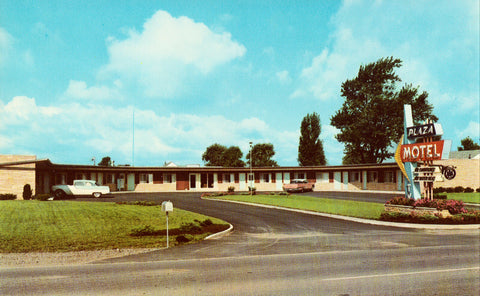 Plaza Motel - Bryan,Ohio.Front view of vintage postcard