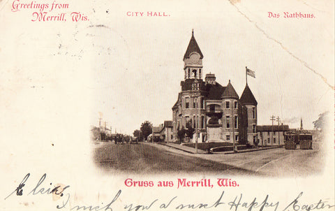Old postcard front view.City Hall - Greetings from Merrill,Wisconsin