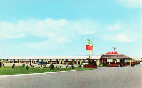 Front view of vintage postcard.Woody's Motel - Daphne,Alabama
