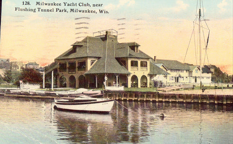 Milwaukee Yacht Club near Flushing Tunnel Park - Milwaukee,Wisconsin.Old postcard front