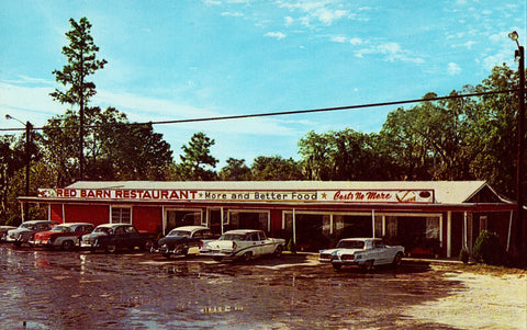 Red Barn Restaurant - Lake City,Florida.Front of vintage postcard