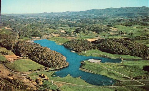 Aerial View of State Fishing Lake - Rural Retreat,Virginia.Vintage postcard front
