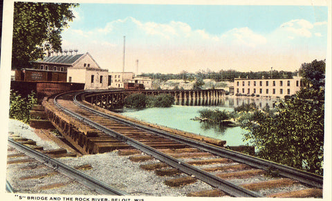 """S"" Bridge and The Rock River - Beloit,Wisconsin.Front of postcard"