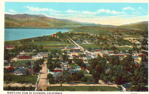 Bird's-Eye View of Elsinore,California.Linen postcard front