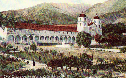 Santa Barbara Mission and Grounds - California.Vintage Postcard Front