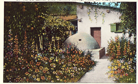 Viintage postcard front.The Old Spanish Oven,Ramona's Marriage Place - San Diego,California