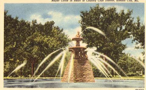 Meyer Circle in Heart of Country Club District - Kansas City,Missouri.Linen postcard front