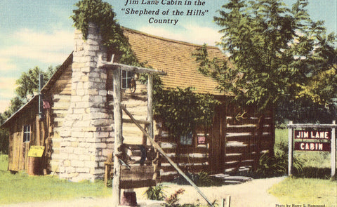 "Jim Lane Cabin in the ""Shepherd of the Hills"" Country - Missouri.Linen postcard front"