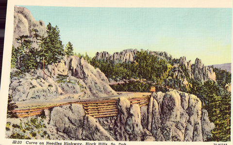 Curve on Needles Highway - Black Hills,South Dakota.Linen postcard front
