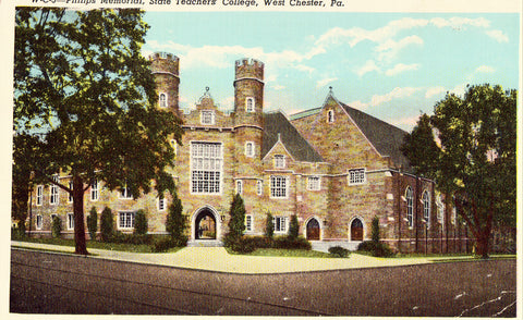Vintage postcar front.Philips Memorial,State Teachers' College - West Chester,Pennsylvania