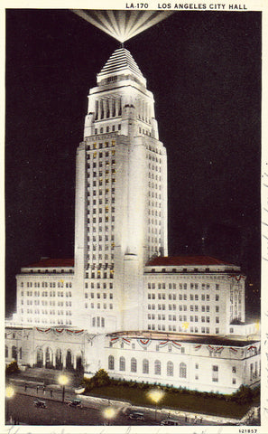 Vintage postcard front.City Hall - Los Angeles,California